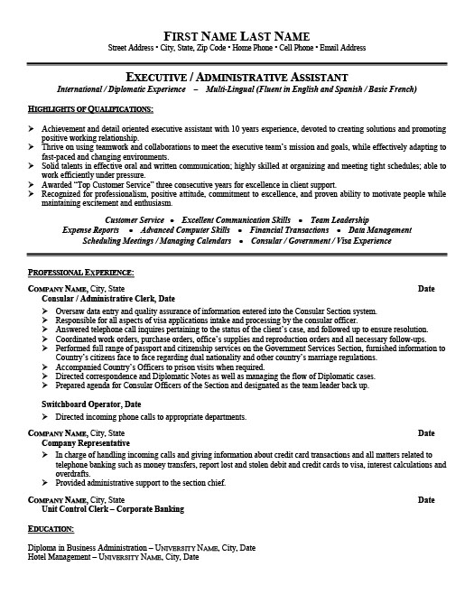 consular or administrative assistant resume template premium samples example visa officer Resume Visa Officer Resume Sample