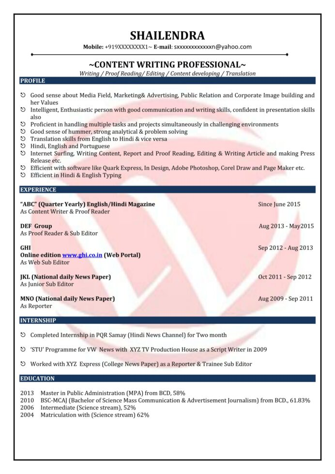 content writer sample resumes resume format templates writing samples for freshers pizza Resume Resume Writing Samples For Freshers