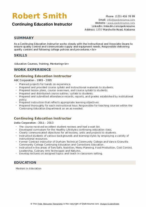 continuing education instructor resume samples qwikresume on pdf types of strengths for Resume Continuing Education On Resume