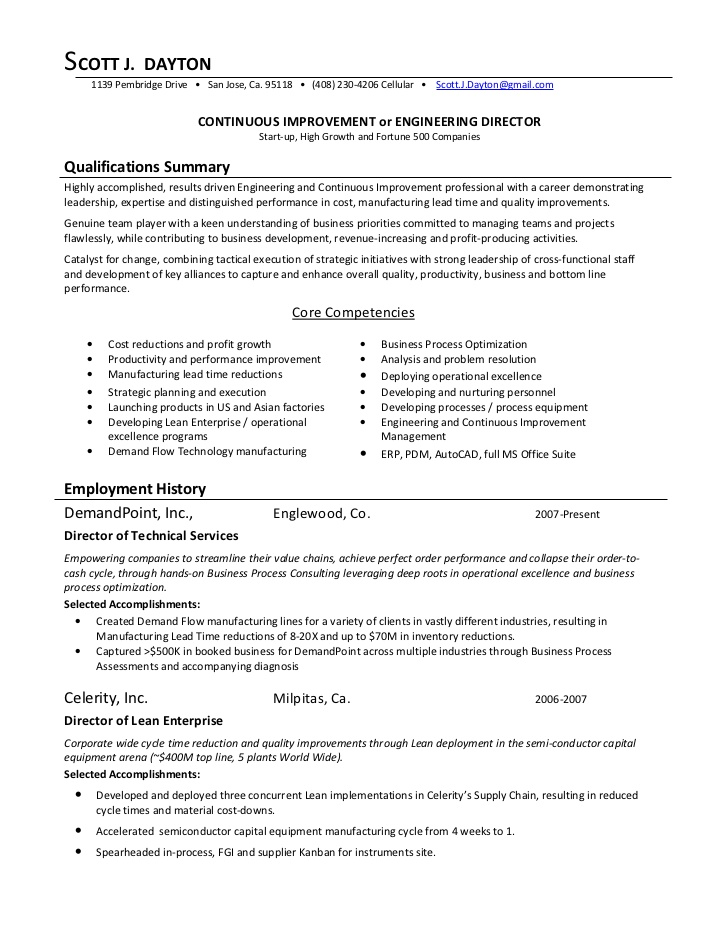continuous improvement director process resume for promotion developer examples of work Resume Process Improvement Resume