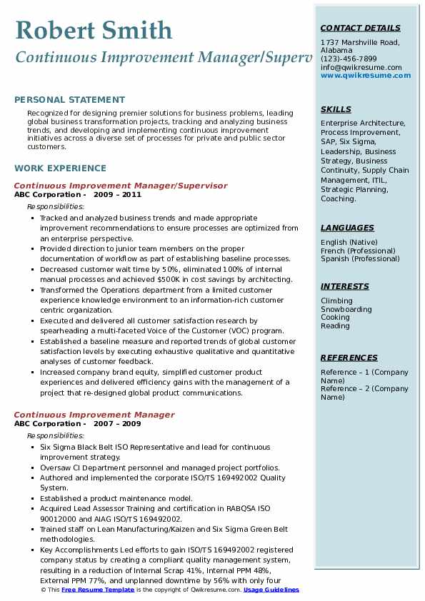 continuous improvement manager resume samples qwikresume process pdf developer format for Resume Process Improvement Resume