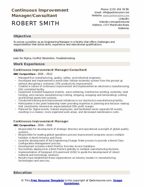 continuous improvement manager resume samples qwikresume process pdf president for Resume Process Improvement Resume