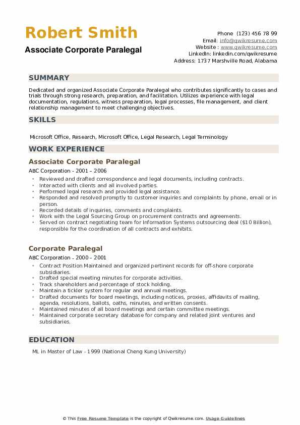 corporate paralegal resume samples qwikresume template pdf babysitting bio sample Resume Paralegal Resume Template