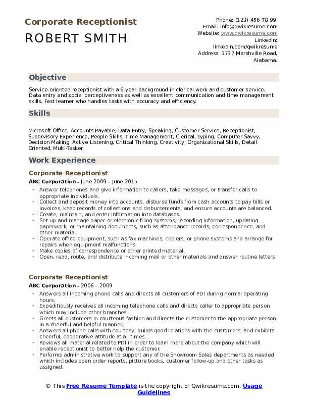corporate receptionist resume samples qwikresume office pdf software testing for year Resume Office Receptionist Resume