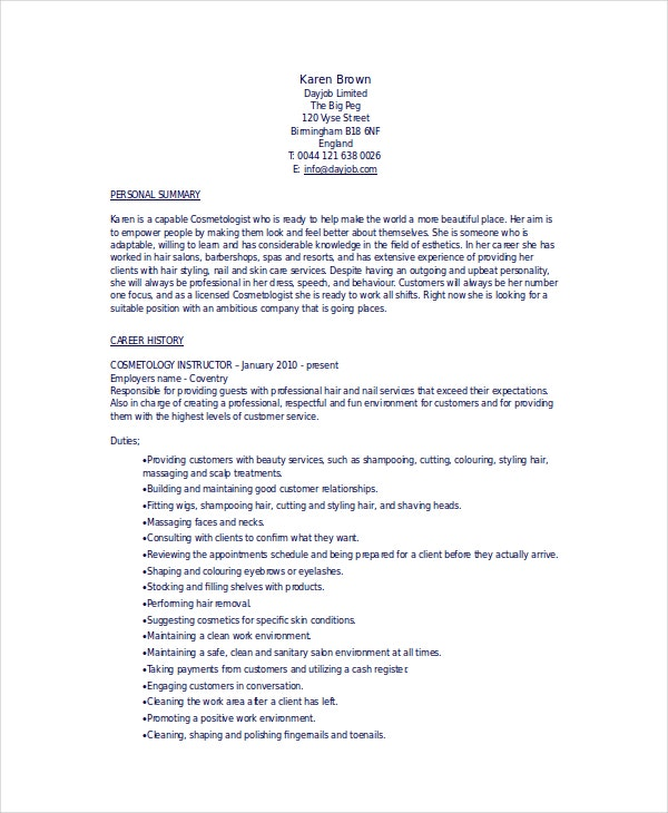 cosmetology resume templates pdf free premium beauty parlour format student for product Resume Beauty Parlour Resume Format