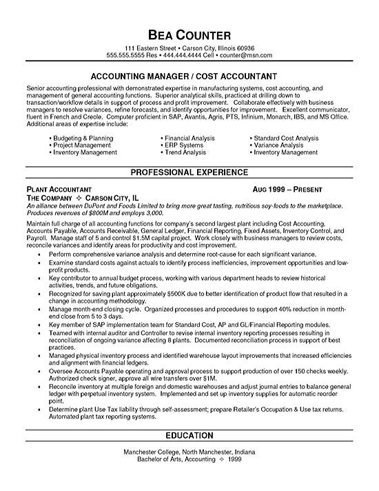 cost accountant resume example accounting skills summary sample finance10 for school Resume Accounting Resume Skills Summary