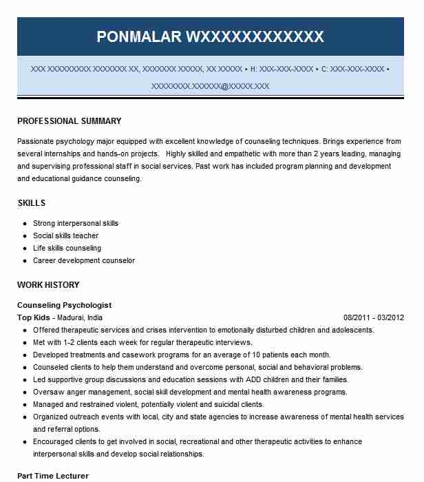 counseling psychologist resume example livecareer psychology sample film editor teaching Resume Psychology Resume Sample