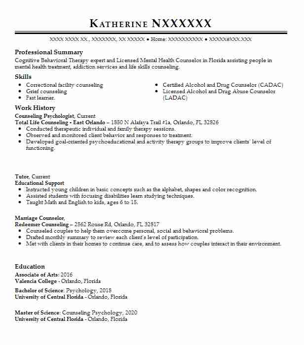 counseling psychologist resume example livecareer psychology sample under review best Resume Psychology Resume Sample