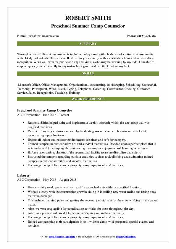 counselor resume samples qwikresume pdf embedded software engineer job history examples Resume Day Camp Counselor Resume