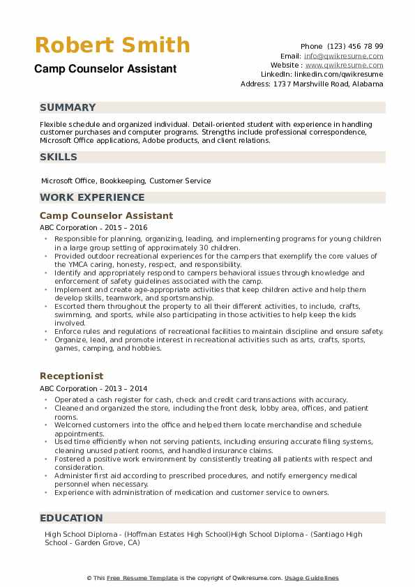 counselor resume samples qwikresume pdf professional objective for service manager Resume Day Camp Counselor Resume