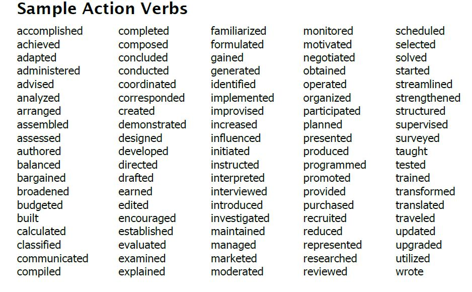 cover letter action words resume for customer service sample verbs quality assurance Resume Resume Action Words For Customer Service
