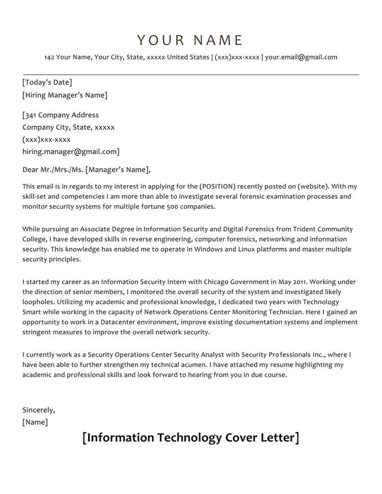 cover letter samples to format with examples information technology resume sample Resume Information Technology Resume Cover Letter