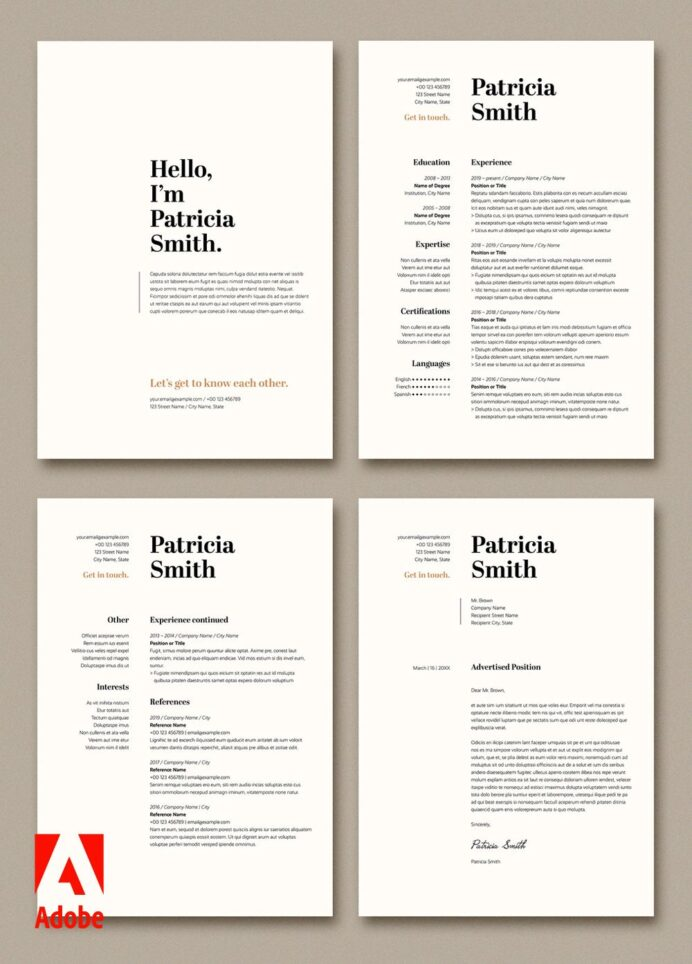 create opportunities with adobe stock try this resume and cover letter layout tan accents Resume Adobe Stock Resume Templates