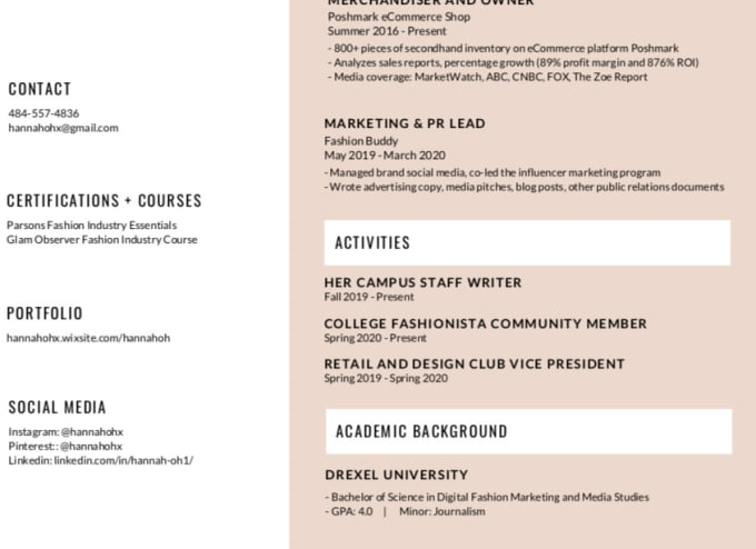 create professional fashion resume for you by hannahoh615 industry services european Resume Fashion Industry Resume Services