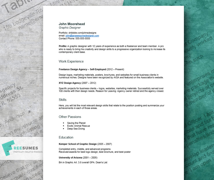 creative resume example for graphic design job seekers freesumes self employed examples Resume Self Employed Resume Examples