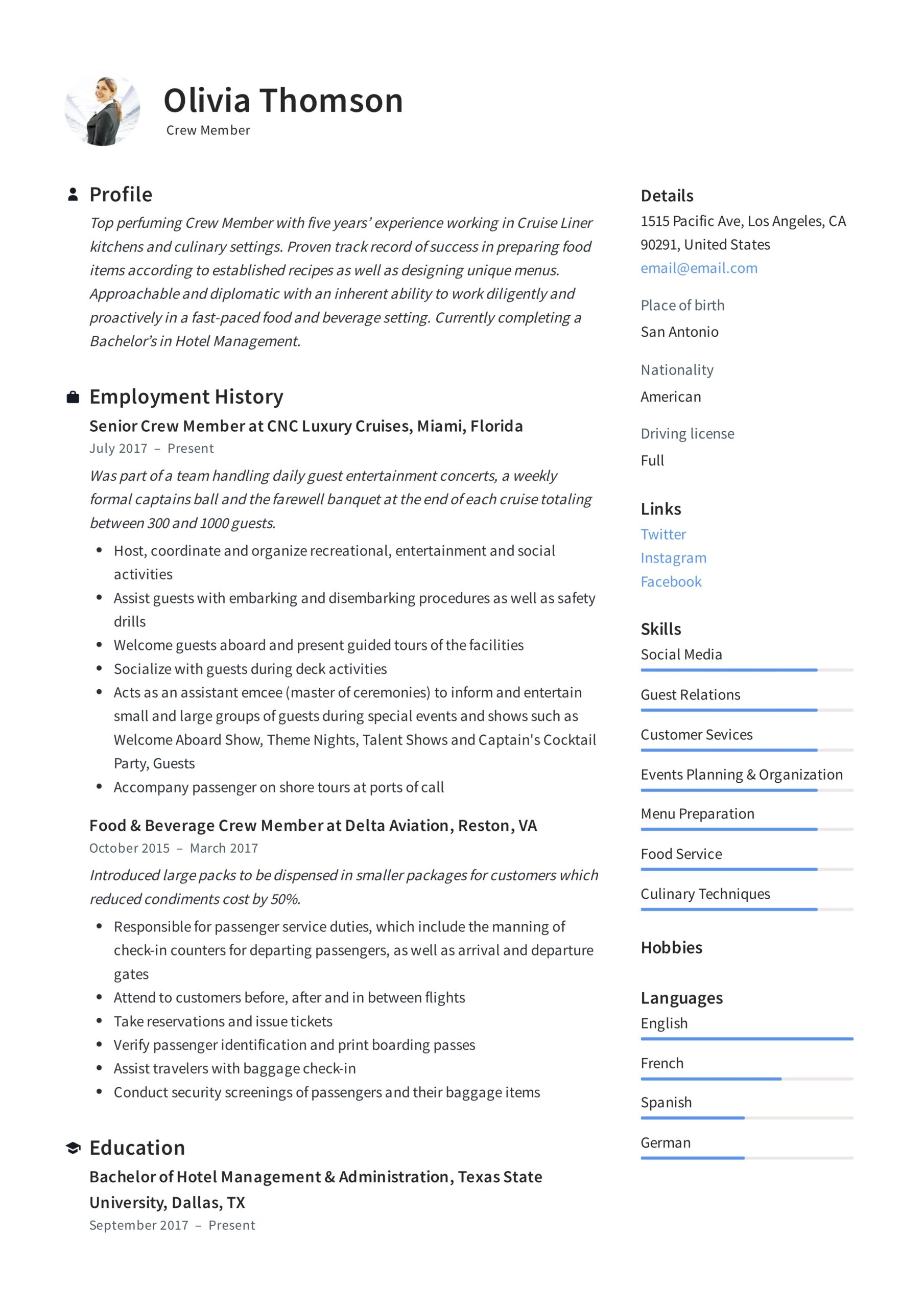 crew member resume writing guide examples fast food job description for olivia thomson Resume Fast Food Crew Member Job Description For Resume
