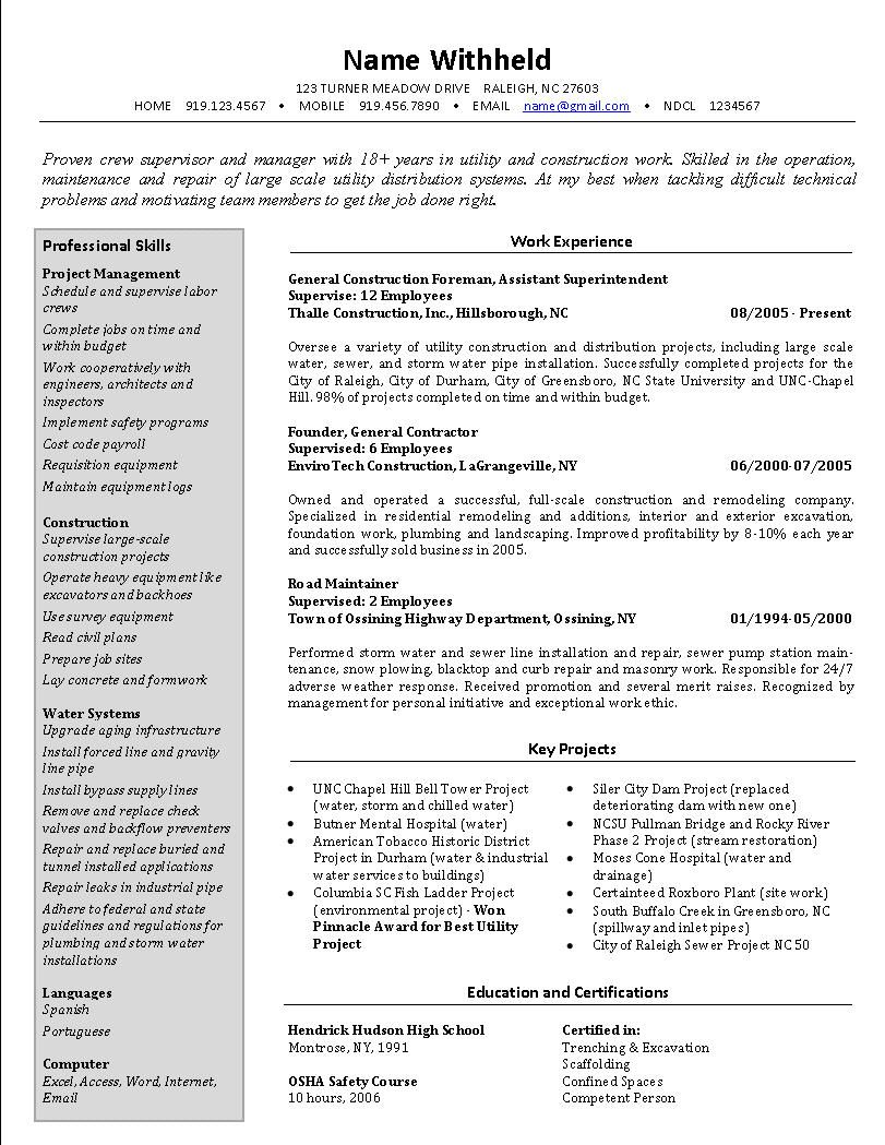 crew supervisor resume example sample construction resumes functional template examples Resume Concrete Superintendent Resume