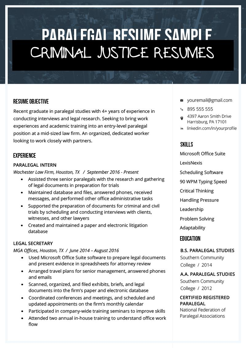 criminal justice resumes free templates resume examples of paralegal sample amp writing Resume Criminal Justice Resume Examples