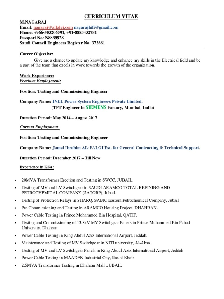 curriculum vitae siemens electricity electromagnetism electrical testing and Resume Electrical Testing And Commissioning Engineer Resume