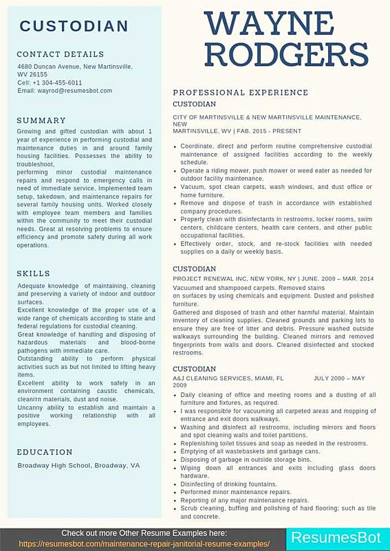 custodian resume samples templates pdf resumes bot janitorial sample examples automation Resume Janitorial Sample Resume Examples