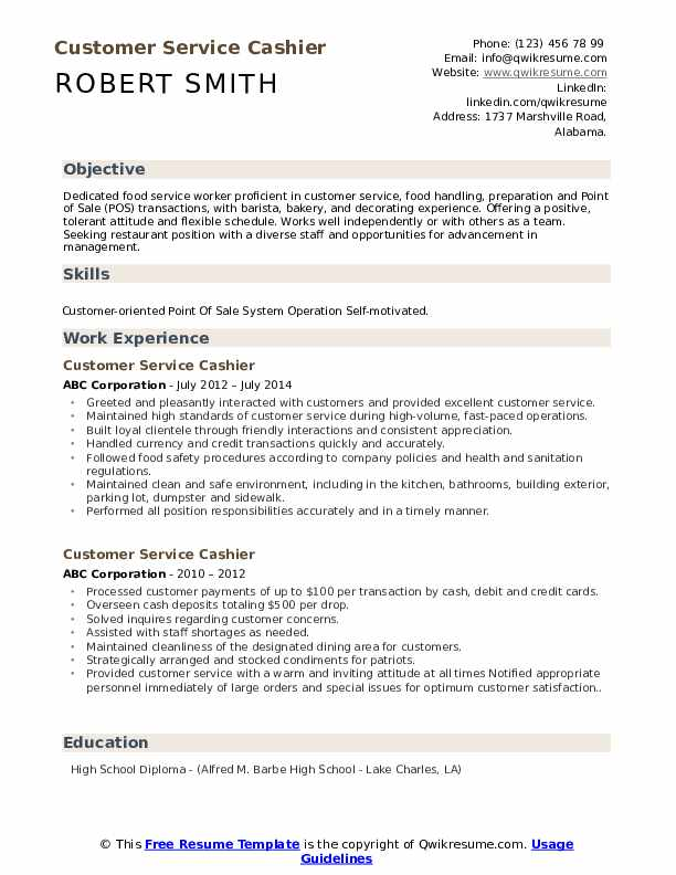 customer service cashier resume samples qwikresume job examples pdf for company interview Resume Cashier Job Resume Examples