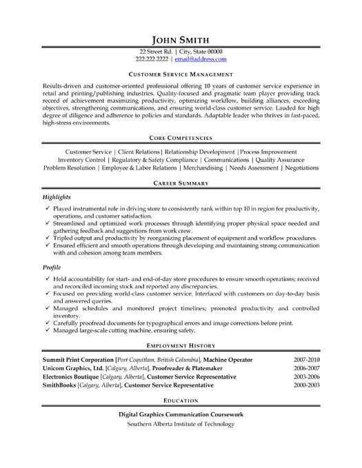 customer service manager resume sample template profile summary mg professional supply Resume Resume Profile Summary Customer Service