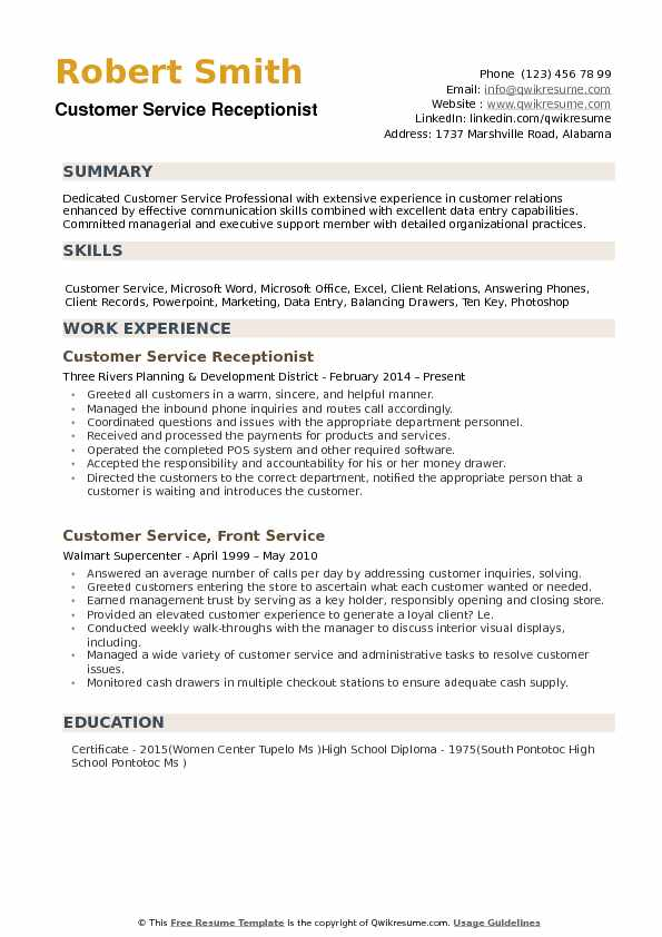 customer service receptionist resume samples qwikresume examples of summary for pdf Resume Examples Of Resume Summary For Receptionist