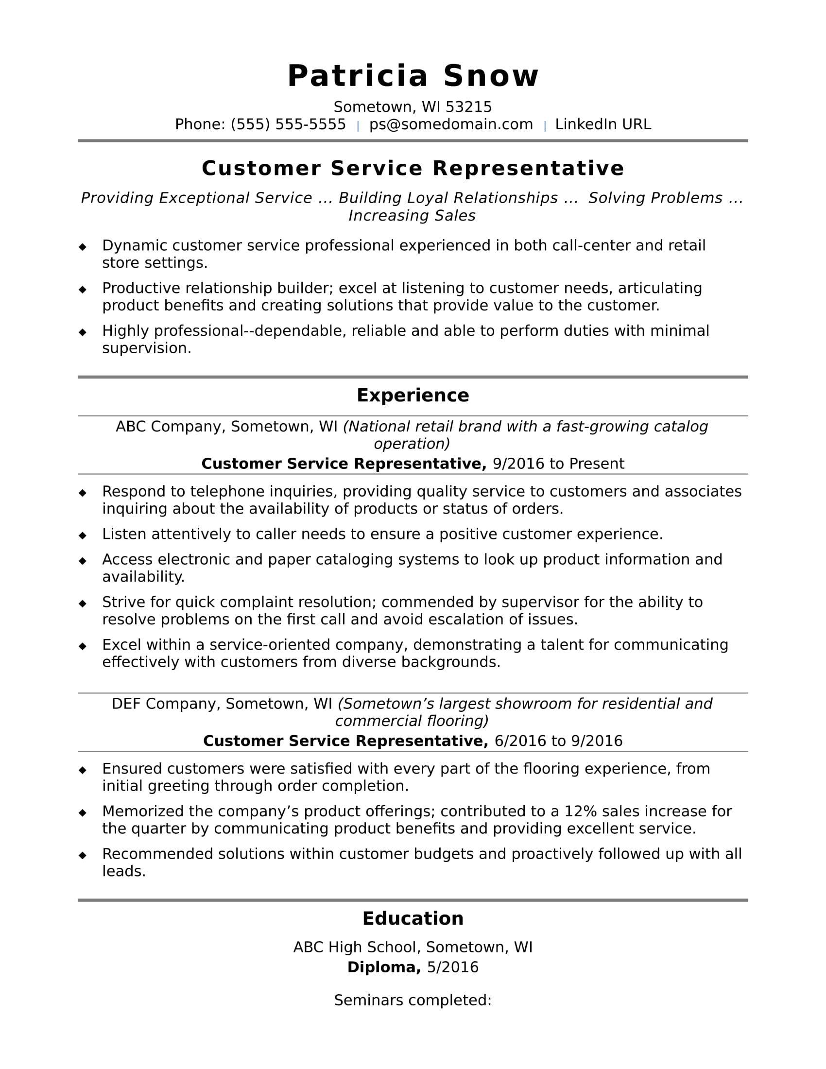 customer service representative resume sample monster for entry level name examples Resume Resume For Customer Representative