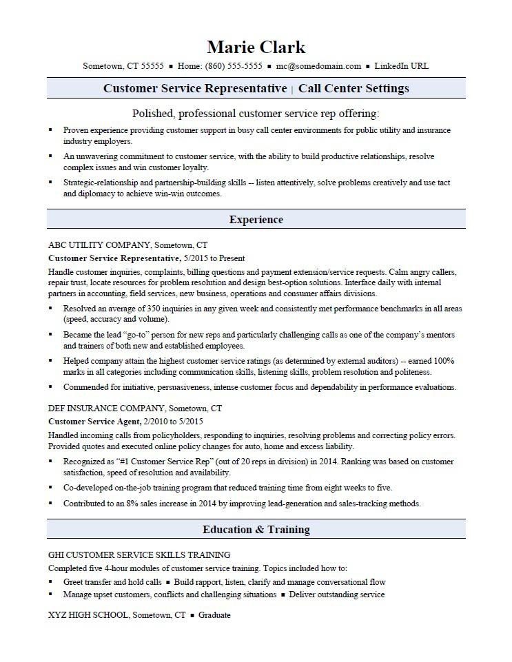 customer service representative resume sample monster for rep name examples content Resume Resume For Customer Representative