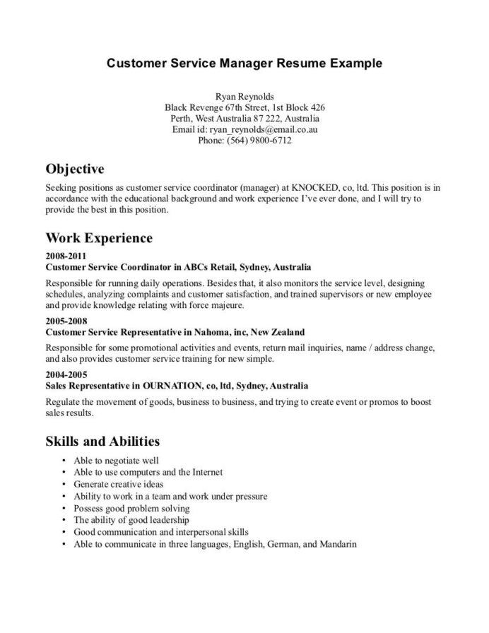 customer service resume examples template format objective statement for parsing star Resume Objective Examples For Customer Service Resume