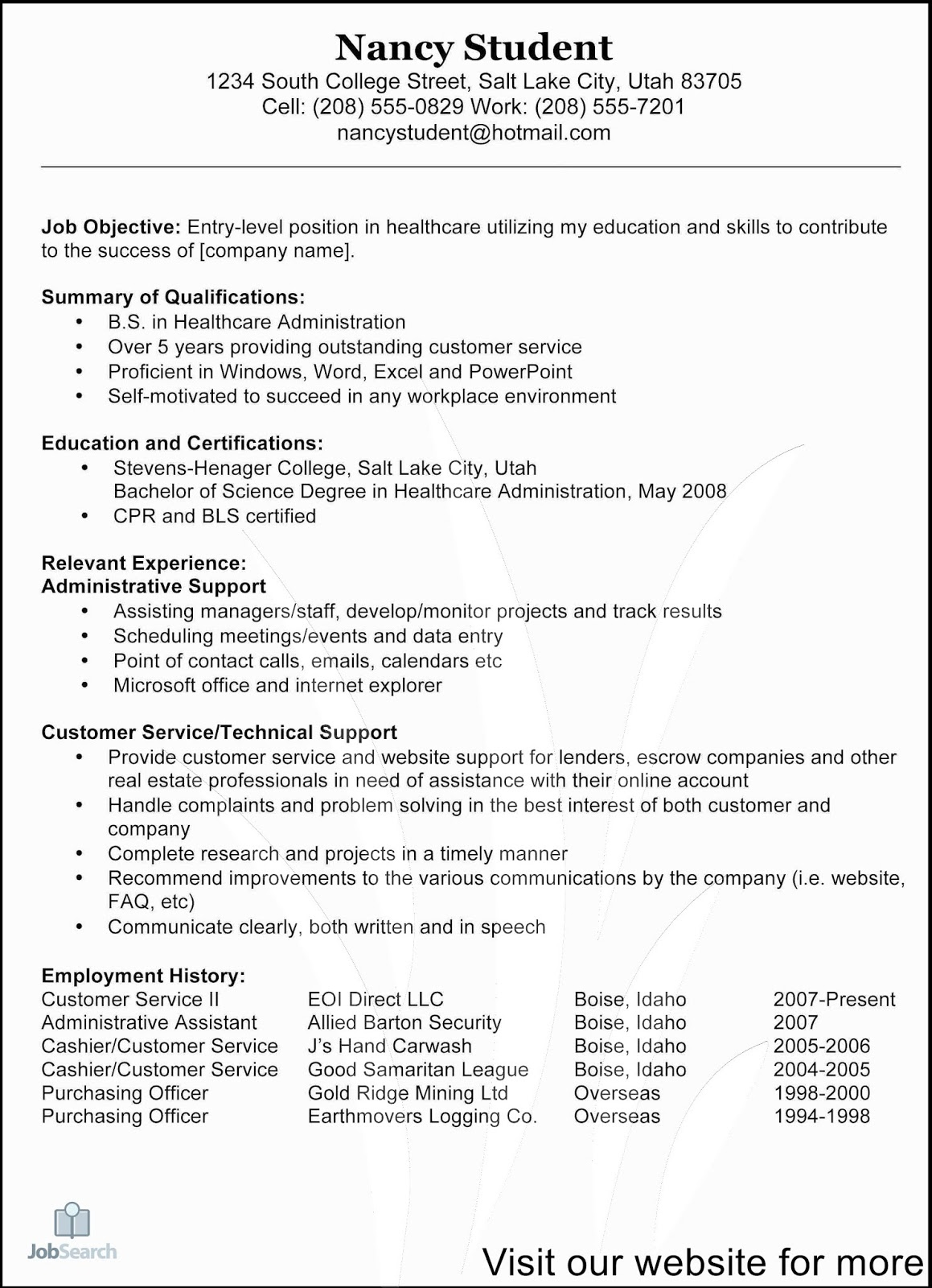 customer service resume objective or summary examples contoh pekerjaan example cover Resume Customer Service Resume Objective