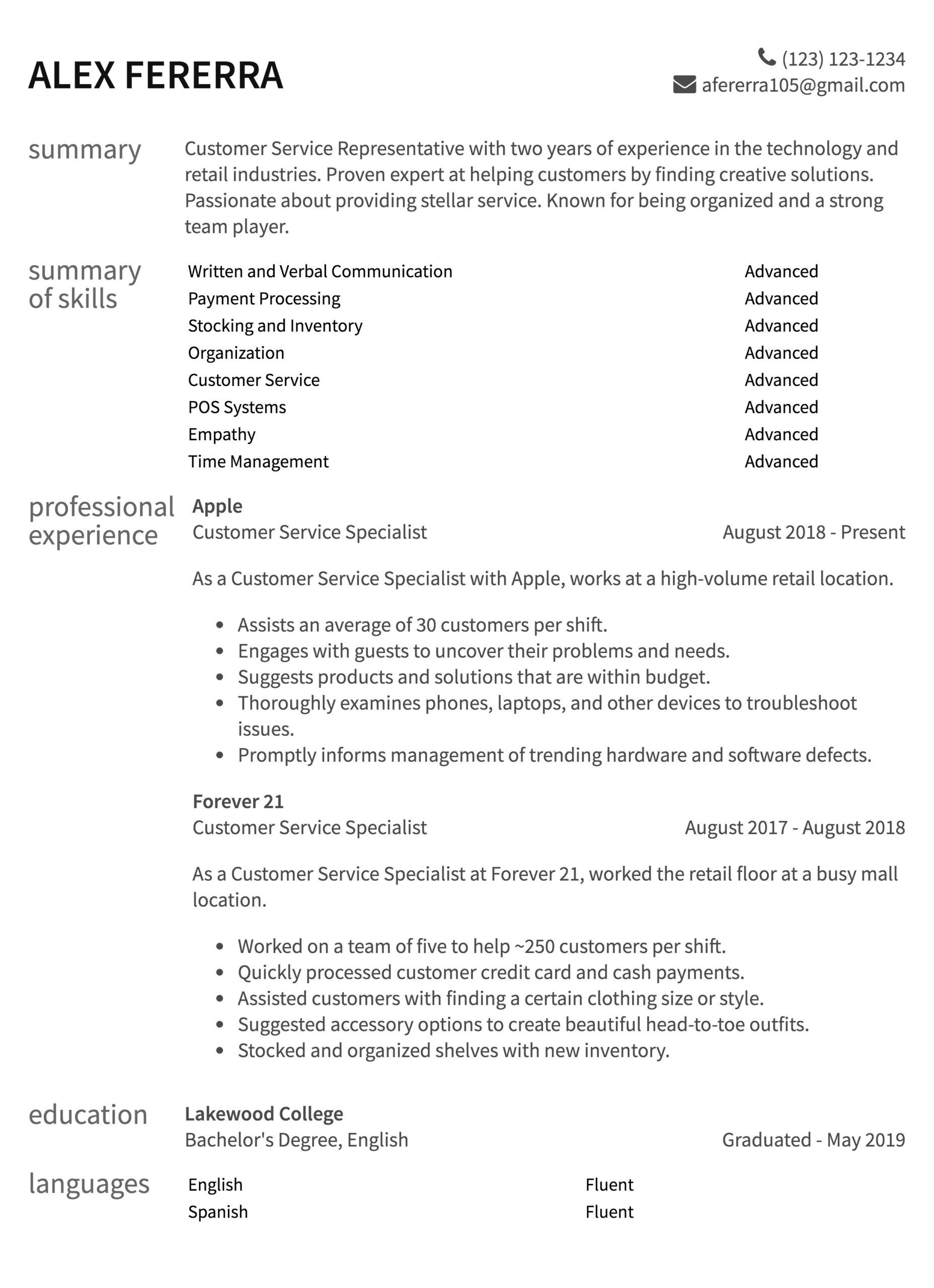 customer service resume samples to guide experience two year exp sheryl sandberg gpa on Resume Service Experience Resume