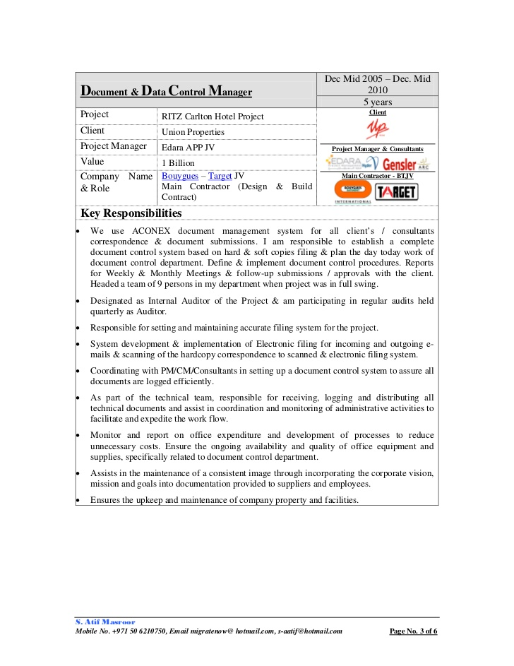 cv atif masroor document control manager specialist resume sample objective for bakery Resume Document Control Manager Resume Sample