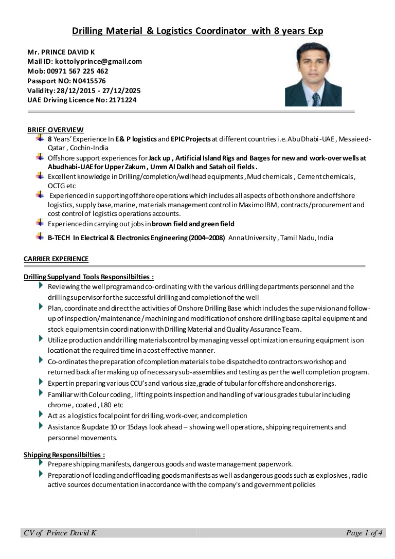 cv drilling logistics coordinator with years experience resume thumbnail email writing Resume Logistics Coordinator Resume
