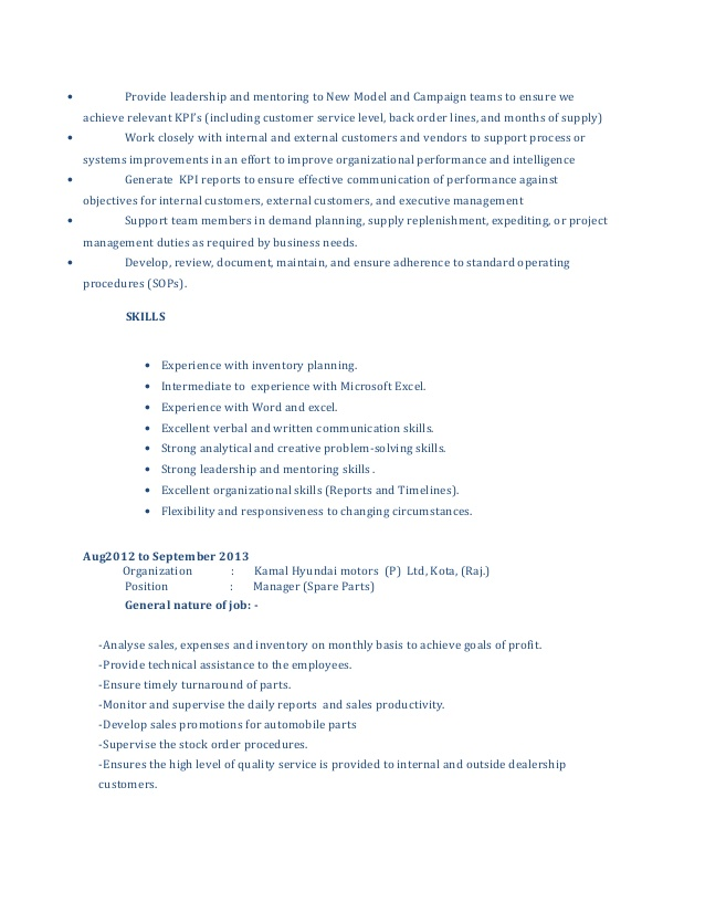 cv for spare parts manager department resume without word pilot examples yacht crew Resume Parts Department Resume