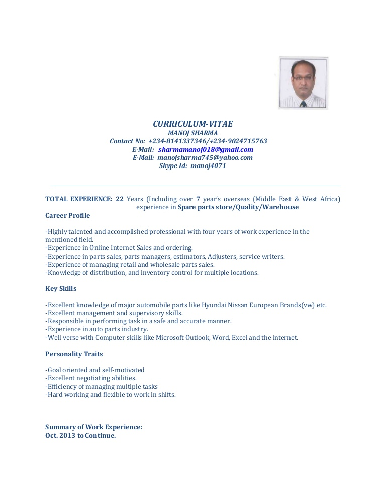 cv for spare parts manager quality incharge resume manojcurrent thumbnail creative Resume Quality Incharge Resume