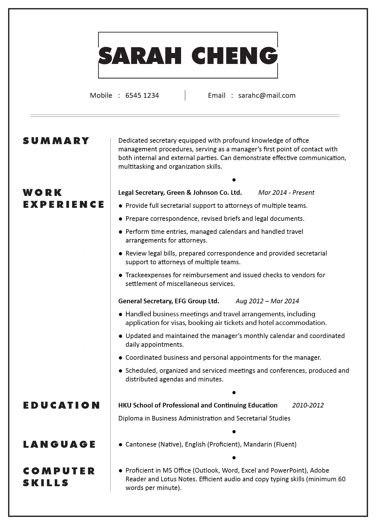 cv profile sample secretary jobsdb hong kong job description of for resume mission Resume Job Description Of A Secretary For Resume