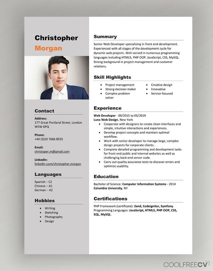 cv resume templates examples word free template with photo cna job duties for switching Resume Free Resume Template Download 2020