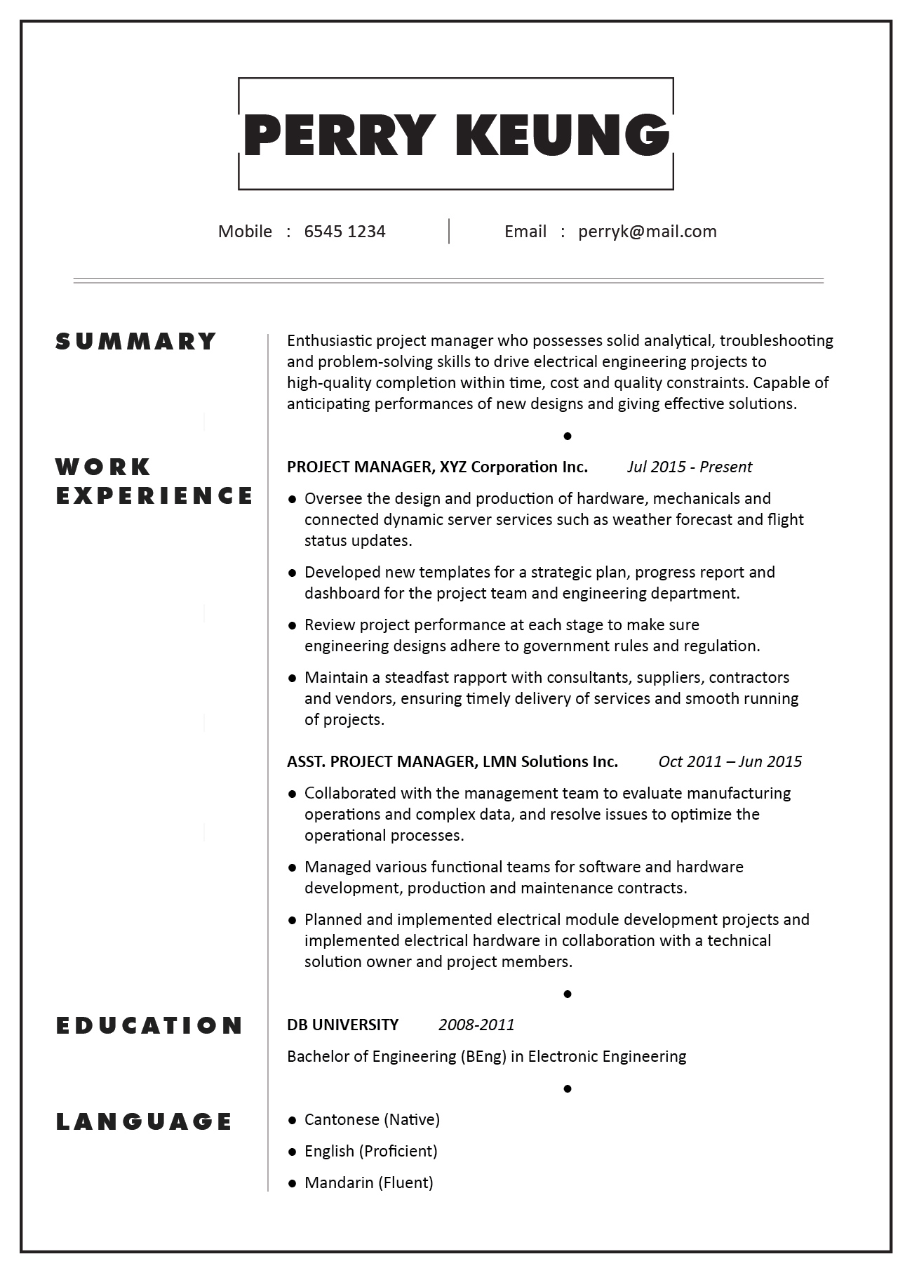 cv sample project manager electronic electrical mechanical engineering jobsdb hong kong Resume Project Manager Description For Resume