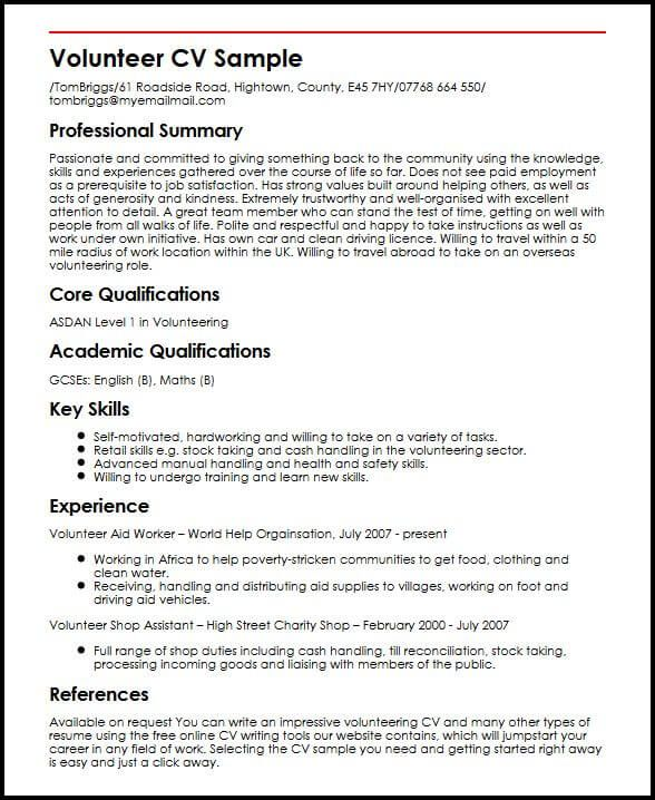 cv template volunteer experience resume format examples good work can you put on senior Resume Can You Put Volunteer Work On A Resume