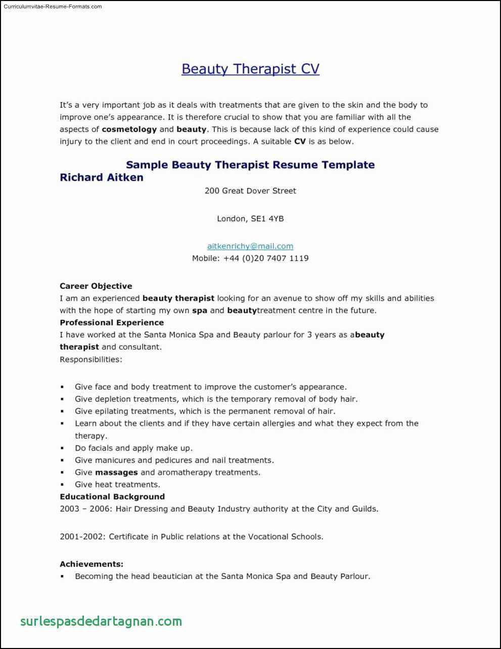 cv template youth central resume format good examples therapist beauty parlour retired Resume Beauty Parlour Resume Format