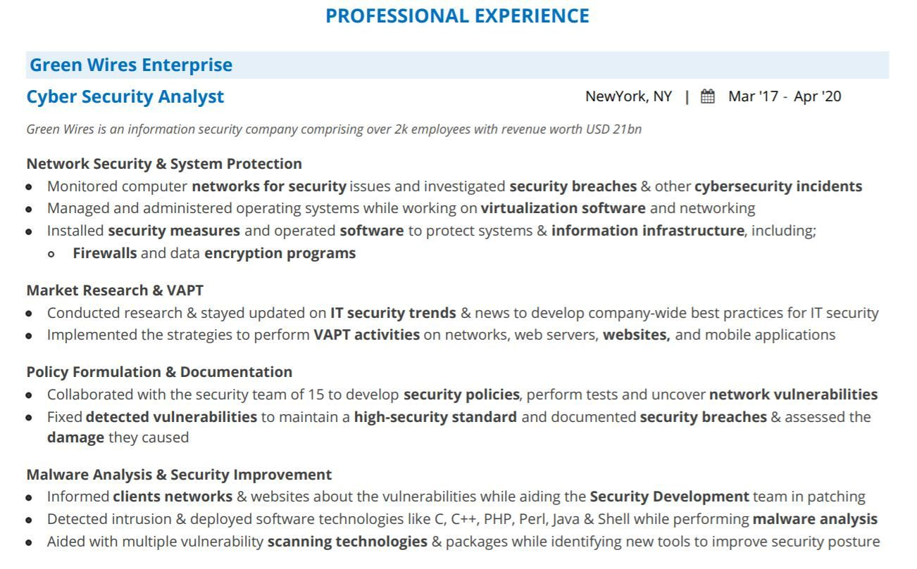 cyber security analyst resume guide with examples information sample professional Resume Information Security Analyst Sample Resume
