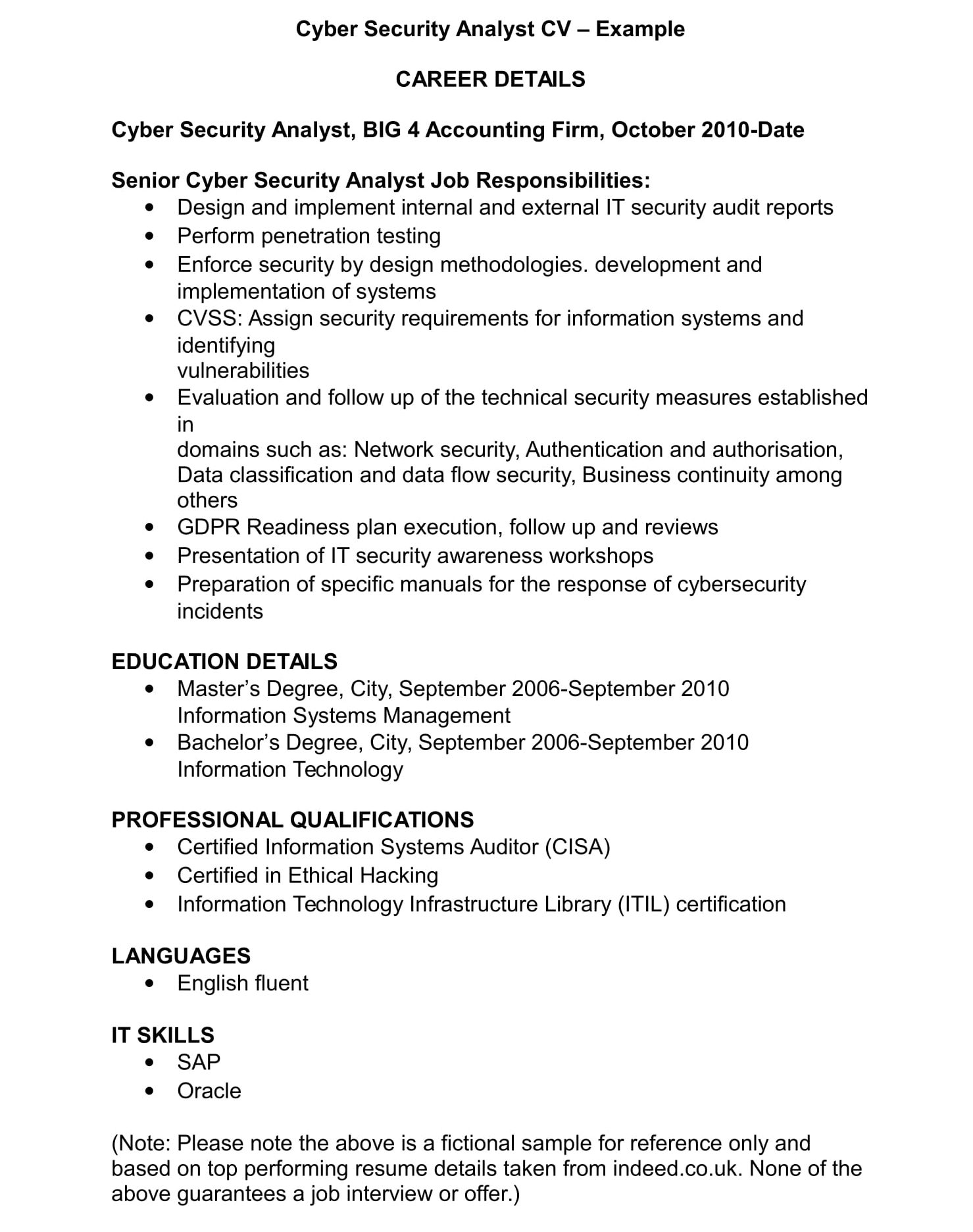 cyber security cv template and examples renaix information analyst sample resume example Resume Information Security Analyst Sample Resume