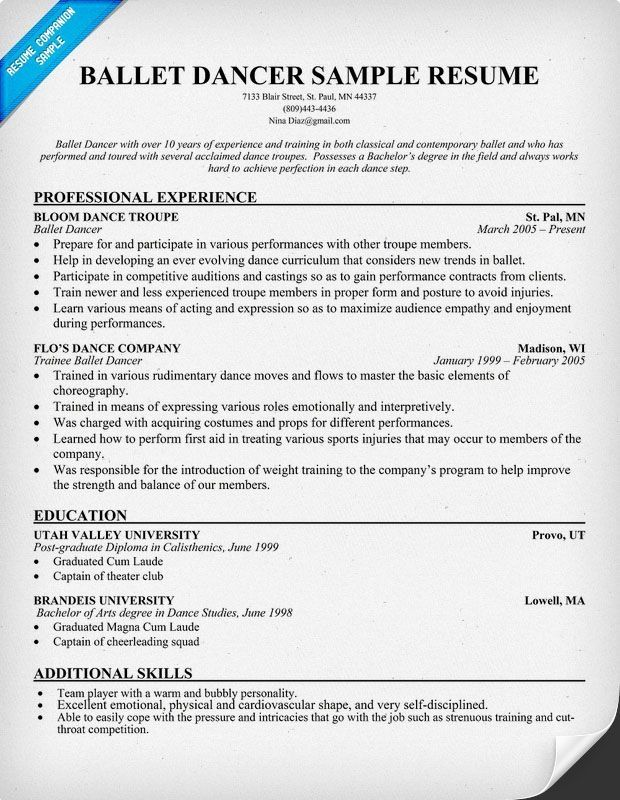dance resume template format for classical teacher college examples graduate student Resume Resume Format For Classical Dance Teacher