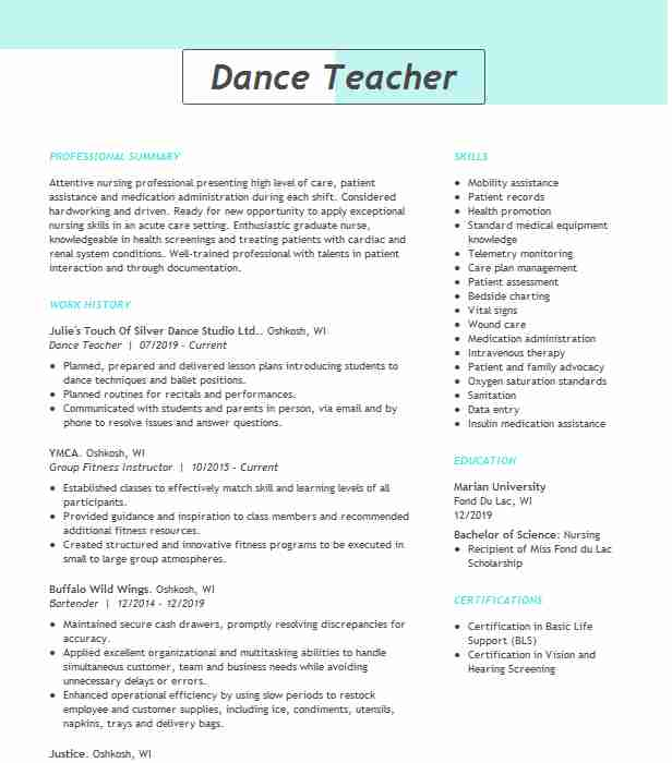 dance teacher resume example resumes livecareer format for classical customer service Resume Resume Format For Classical Dance Teacher