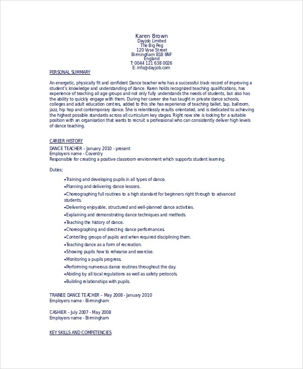 dancer resume template free word pdf documents premium templates format for classical Resume Resume Format For Classical Dance Teacher