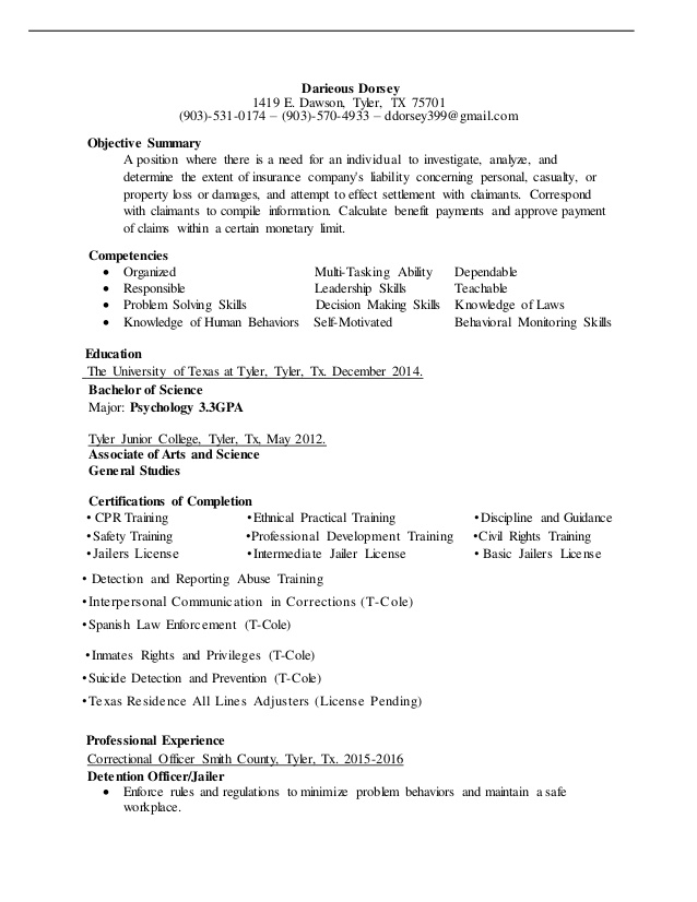 darieous dorsey casualty and property field adjuster resume claims sample school Resume Property Claims Adjuster Resume Sample