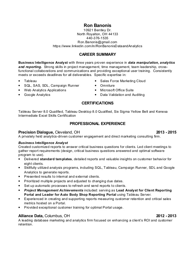 data analyst resume ron banonis summary for structural engineer format building service Resume Data Analyst Summary For Resume