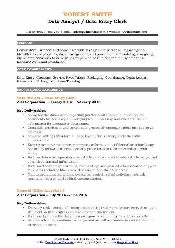 data entry clerk resume samples qwikresume pdf revenue manager examples malaysian sample Resume Data Entry Clerk Resume