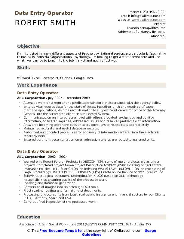 data entry operator resume samples qwikresume computer sample pdf for cleaning position Resume Computer Operator Resume Sample